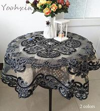 Luxury glitter Black square Tablecloth embroidery lace kitchen tea coffee Table Cover cloth dining Christmas party Wedding decor
