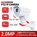 Boavision 1080 p bala câmera ip poe ptz ao ar livre, Slot Para Cartão SD, 10X Zoom, Câmera IP Onvif 2.0MP CCTV Rotativo, iphone ver android