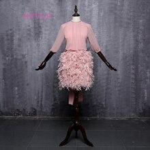 Розовое платье-футляр с высоким воротником и длинными рукавами с открытой спиной, шифоновое Короткое мини-коктейльное платье с бантом и перьями, платья для выпускного вечера