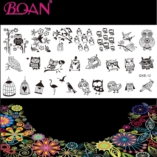 10pcs/lot Hot Sale Bird Cage Owl Patterns Nail Plate Construction-in ...