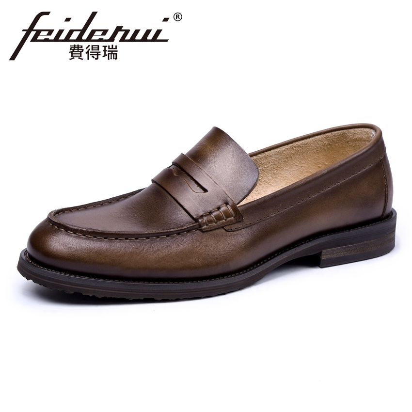 Vintage Mens Comfortable Brogue Loafers British Designer Round Toe Slip on Handmade Man Flats Genuine Leather Casual Shoes KUD16 pl us size 38 47 handmade genuine leather mens shoes casual men loafers fashion breathable driving shoes slip on moccasins