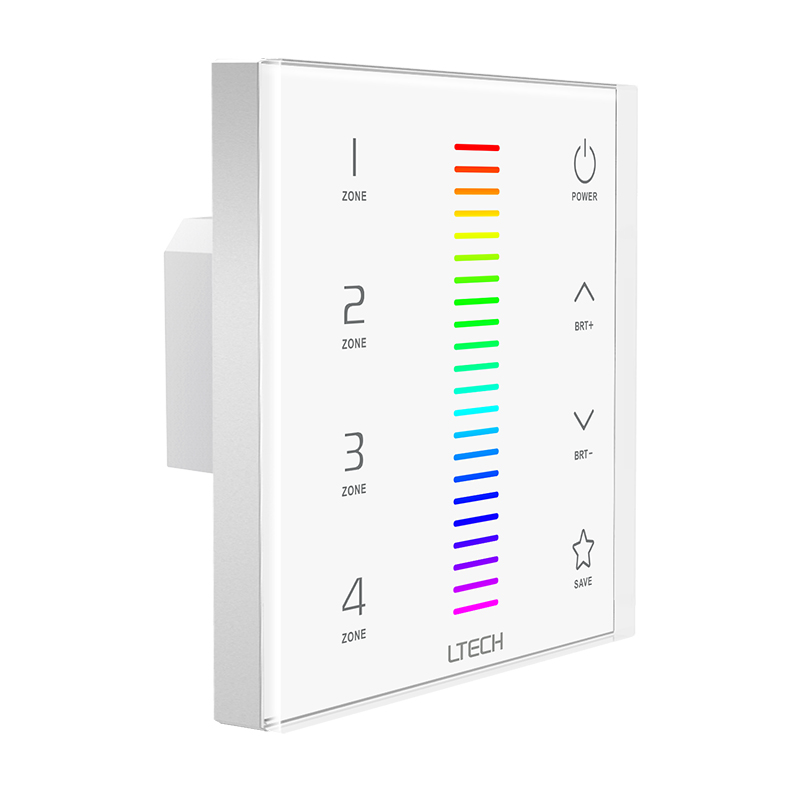 LTECH Led RGB strip controller 220V 2.4GHz RF wireless and DMX multi function Glass Touch Wall Panel Led strip RGB controller