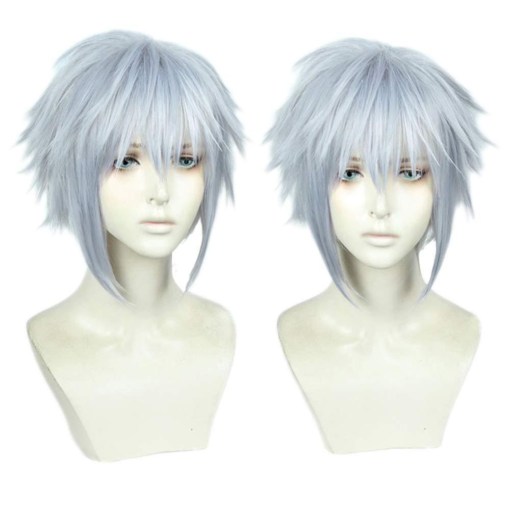 Game Kingdom Hearts III Riku Short Grey Mixed Color Wig Heat Resistant Synthetic Hair Cosplay Costume Wigs + Free Wig CapAnime Costumes   -