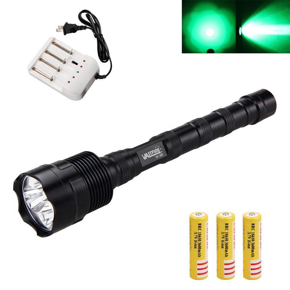 VASTFIRE Green/Red 3800LM 3x Q5 LED Flashlight Light Hunting Torch 3x18650+Charger