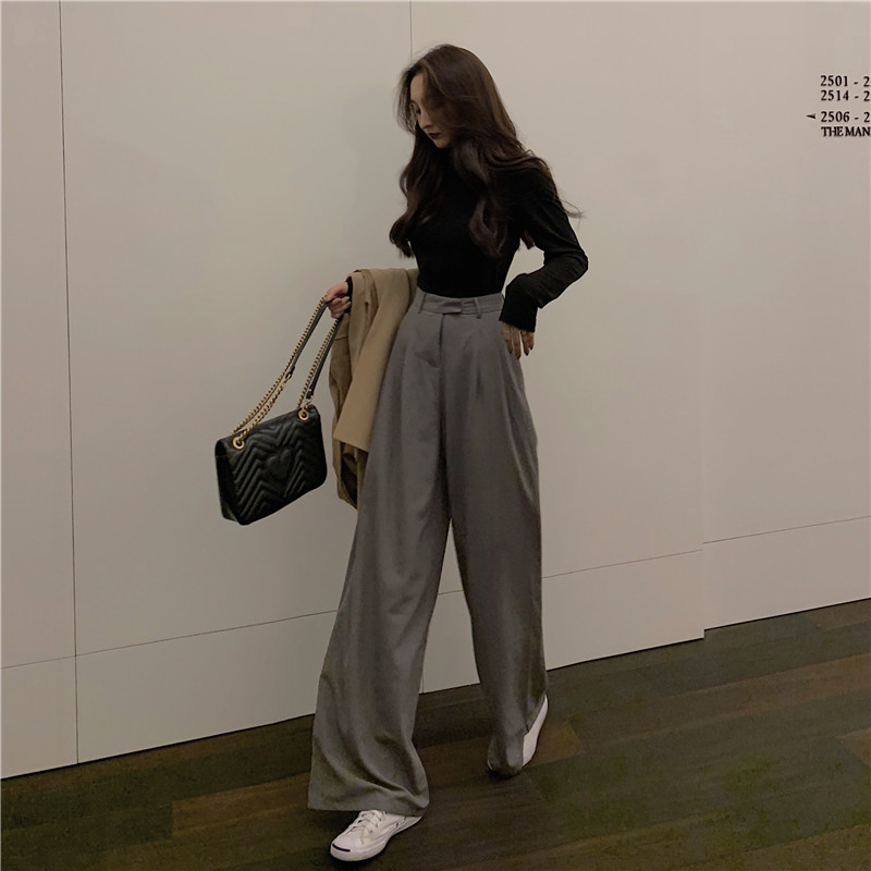 2019 Spring, summer and autumn women's Korean wide-leg   pants   high waist   pants   loose casual suit mopping   capris   fashion tide