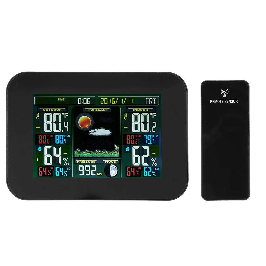 Wireless Weather Station Color Forecast With Alert Temperature Humidity Barometer Alarm Moon Phase Colorful Weather Forecast EU/