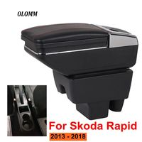 Armrest box For Skoda Rapid 2013 2018 USB Charging heighten Double layer central Store content cup holder ashtray accessories