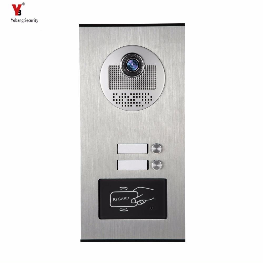 Yobang Security Metal Aluminum Outdoor RFID Access Door Camera For 2 Units Apartment Video Intercom Doorbell Door Phone System smartyiba wired 7inch monitor video intercom door phone doorbell system outdoor rfid access camera intercom for 5 apartment
