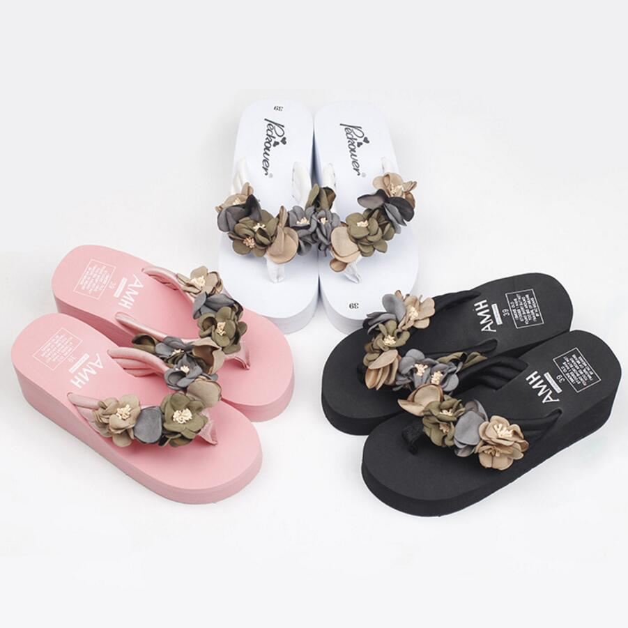 Platform Sandals Wedges-Shoes Flip-Flops High-Heel Plus-Size Summer Woman Floral Mujer