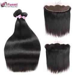 Фунми перуанский прямые волосы Связки с фронтальной 100% натуральная человеческих волос Связки с фронтальной 3 Связки с фронтальной