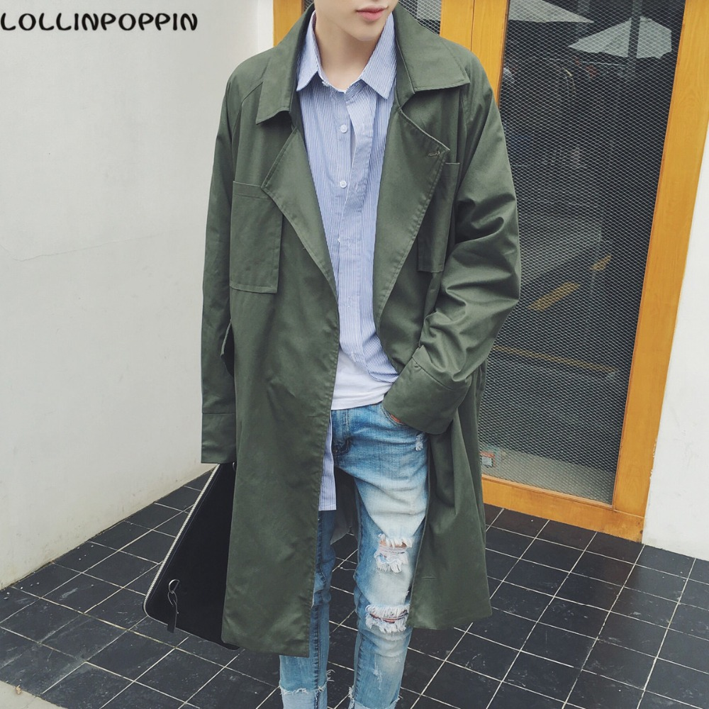 Men Army Green Trench Coat Long Style Single Button Mens Loose Wind Jacket Dust Coat Lapel Collar Free Shipping