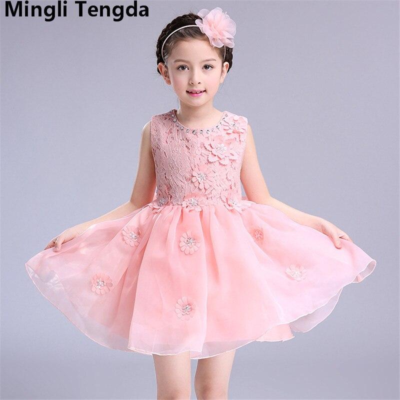 Pink Ball Gown   Flower     Girl     Dresses   for Weddings Lace Sweet   Girl     Dress   Appliques   Flower     Girl     Dress   Elegant   Dress   Mingli Tengda