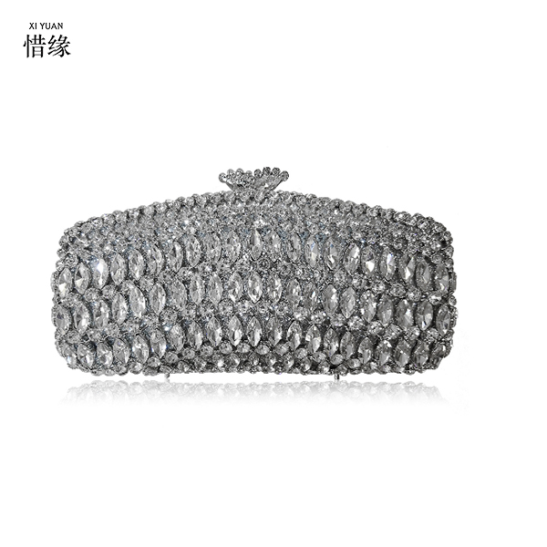 XIYUAN BRAND silver crystal diamond evening bag women black  pochette minaudiere mariage metal clutch bag for party female niko black 21 23 26 ukulele bag silver edge nylon soprano concert tenor soft case gig bag 5mm thick sponge