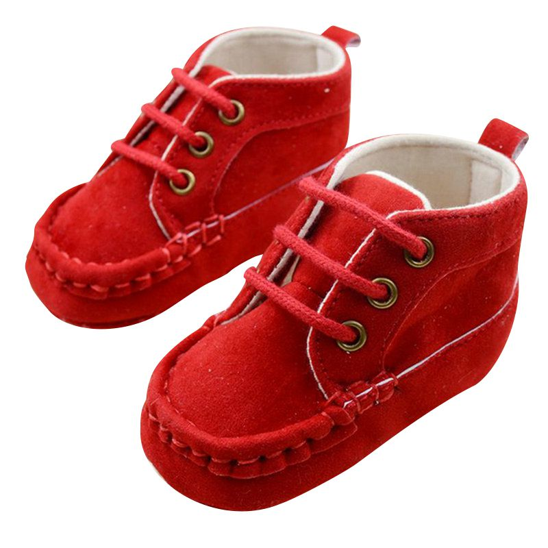 Sweet Infant Kids Baby Shoes Lace Soft Red Cotton Crib Shoes First Walkers 0-18M