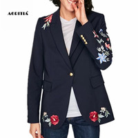 2017 Autumn Spring Women Floral Embroidery Blazers and Jackets Coat Outerwear Blazer Women