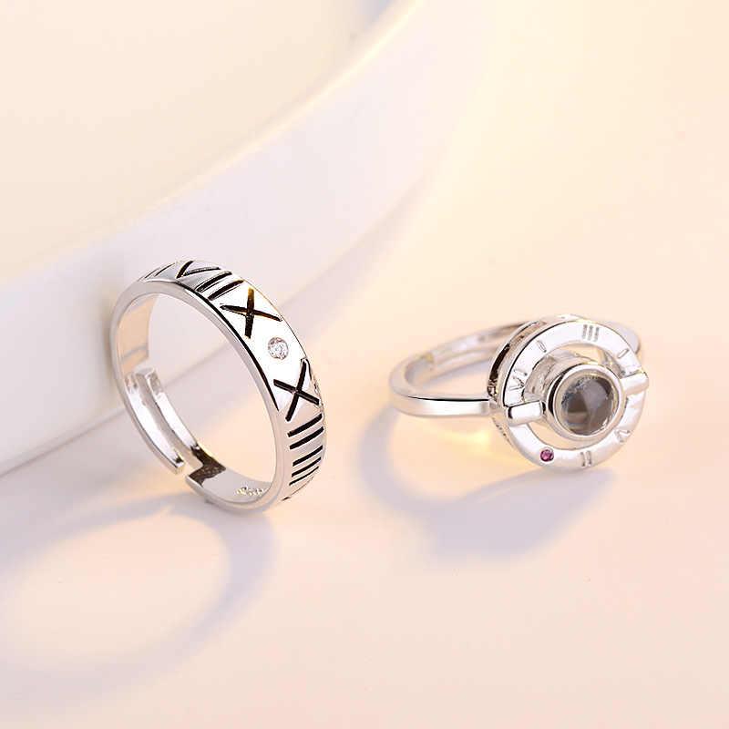 OMHXZJ europea al por mayor moda mujer hombre amantes cumpleaños fiesta regalo amor proyectando AAA Zircon anillo de Plata de Ley 925 RR847