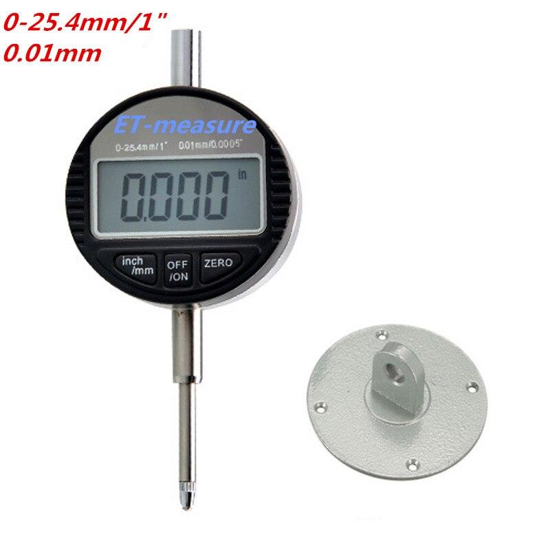 """4 размера цифровой индикатор 0-12,7 мм/0-25,4 мм 0,001 мм 0,0000"""" Электронный микрометр микрометрический/дюймовый индикатор - Цвет: 0-25.4x0.01mm"""