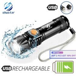 Poderosa lanterna led com cauda cabeça de carregamento usb zoomable à prova dportable água tocha portátil luz 3 modos iluminação bateria embutida