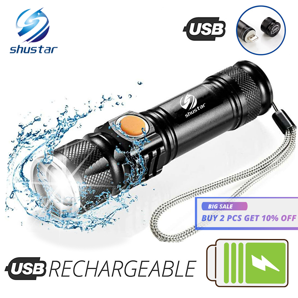 Powerful LED Flashlight With Tail USB Charging Head Zoomable Waterproof Torch Portable Light 3 Lighting Modes Built-in Battery