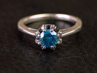 Thailand imports, girls style Silver Blue Zircon retro crown ring