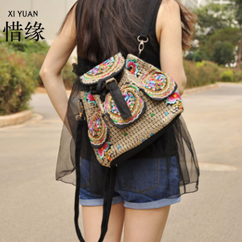 XIYUAN BRAND fashion and elegant women handmade ethnic flowers embroidery embroidered shoulder bags,woman backpacks ethnic embroidered black cami dress for women