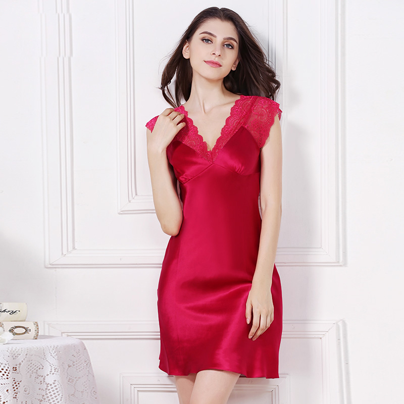 Hot sale 100 genuine silk women nightdress nighty sexy sleep dress short sleeves chemise de nuit