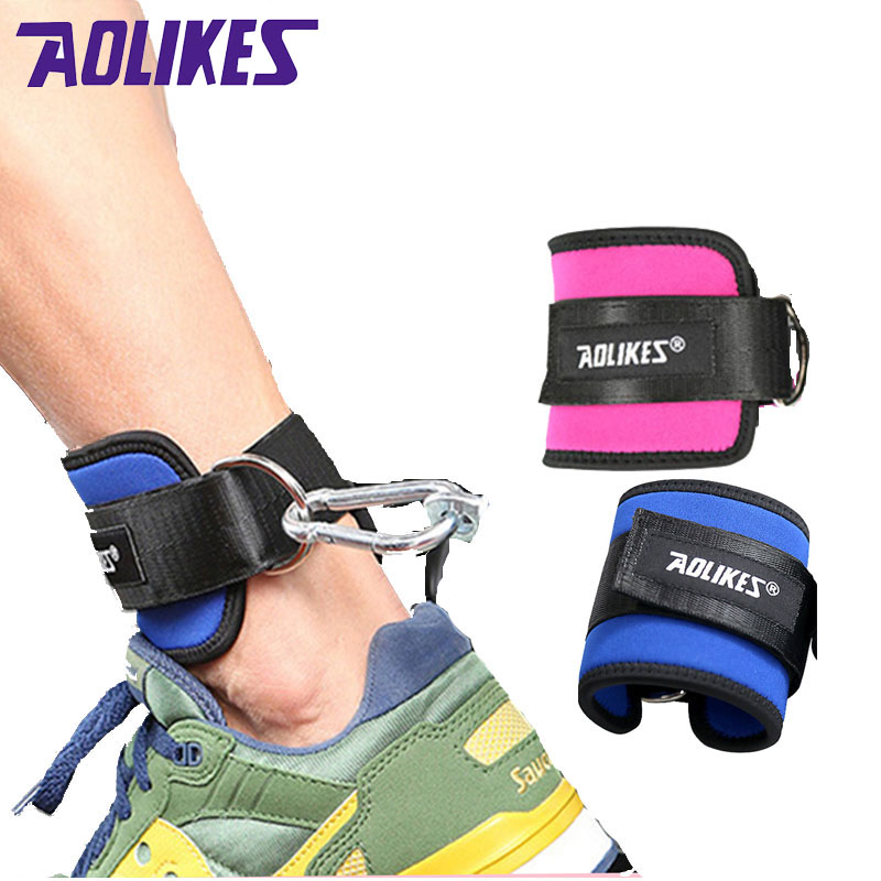 AOLIKES 1PCS Fitness Adjustable D-Ring Ankle Straps Foot Support Ankle Protector Gym Leg Pullery with Buckle Sports Feet Guard 1000kgs 3 3m cheap semi electric wide leg stacker with adjustable feet for standard two face pallete