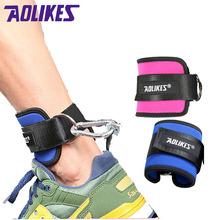 AOLIKES 1szt fitness regulowany D-Ring kostki pasy Foot wsparcie kostki Protector siłownia noga Pullery z klamrą sportowe stopy Guard tanie tanio A-7129 SBR Nylon Steel ring