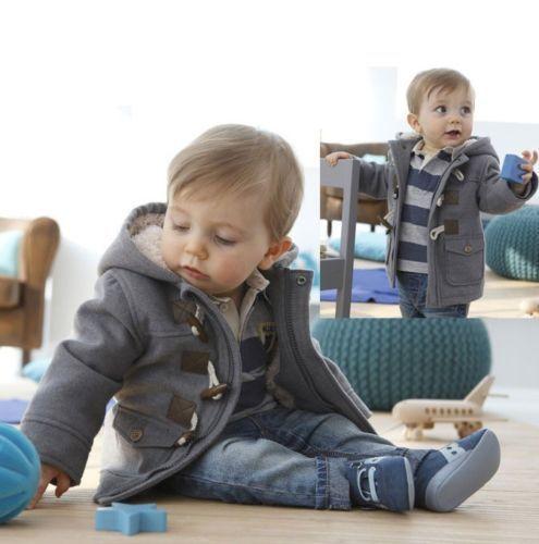 Мода Ребенка Детские Ребенок Зима Руно Хорн Кнопка С Капюшоном Пальто Толстовки 6 М-3 Т