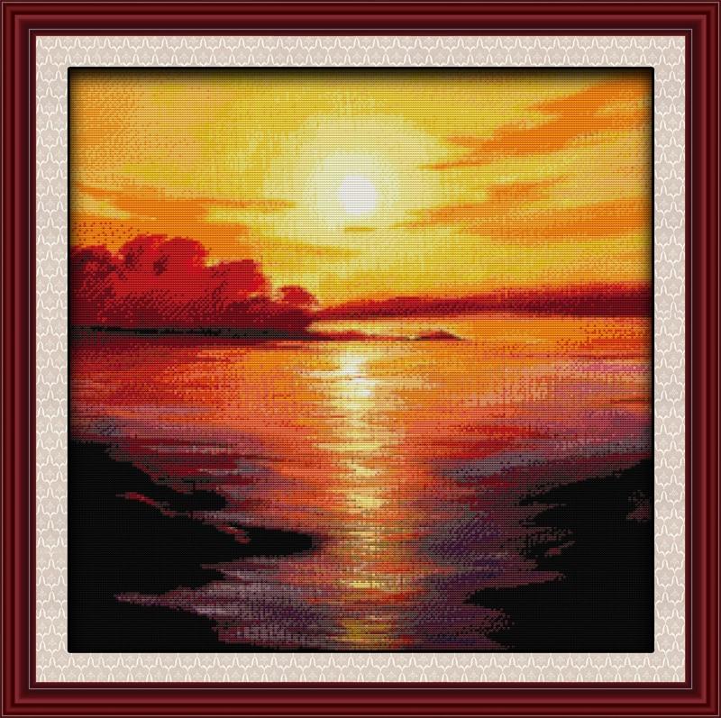Море в сумерках Пейзаж Вышивка крестиком 14CT DMC счетная фантазия вышивка рукодельная напечатанная сказка Набор для вышивки крестом