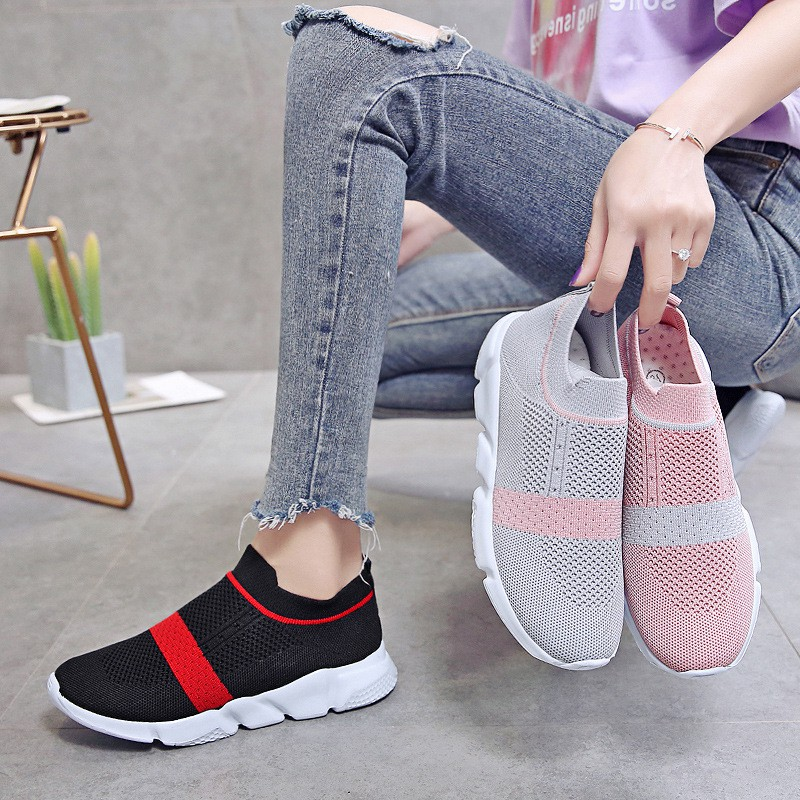 Women Vulcanized Shoes Fashion Sneakers Slip On Sock Shoes Summer Female Knitted Trainers Ladies Casual Shoes Tenis Feminino2019