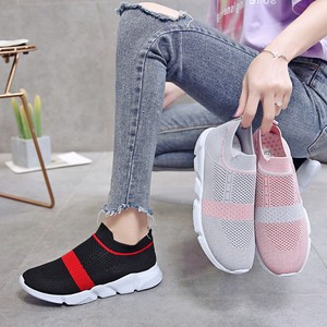 Image 1 - Women Vulcanized Shoes Fashion Sneakers Slip On Sock Shoes Summer Female Knitted Trainers Ladies Casual Shoes Tenis Feminino