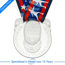 China OEM silver medals cheap Customized Zinc Alloy Medal high quality 3D plating with tape