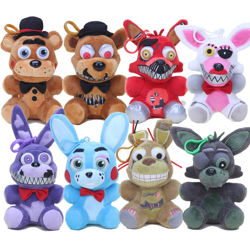 14-15cm Five Nights At Freddy's 5 FNAF Plush Toys Nightmare Freddy foxy Bonnie Soft Stuffed Dolls Kids Gift