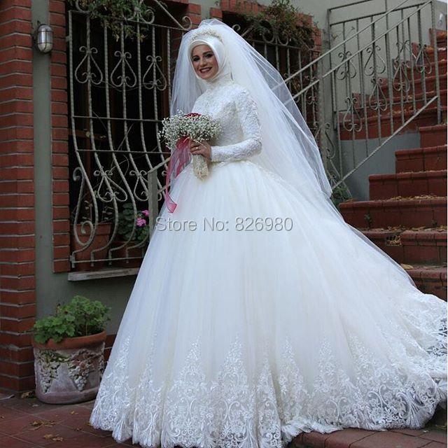 Aliexpress.com : Buy Ball Gown Princess Hijab Long Sleeve Arabic ...