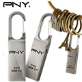 PNY USB Flash Drive 64GB 32GB 16GB USB 3.0 Loop Pen Drives Waterproof Metal Lock Key Chain Keyring Silver Pendrive Memory Disk