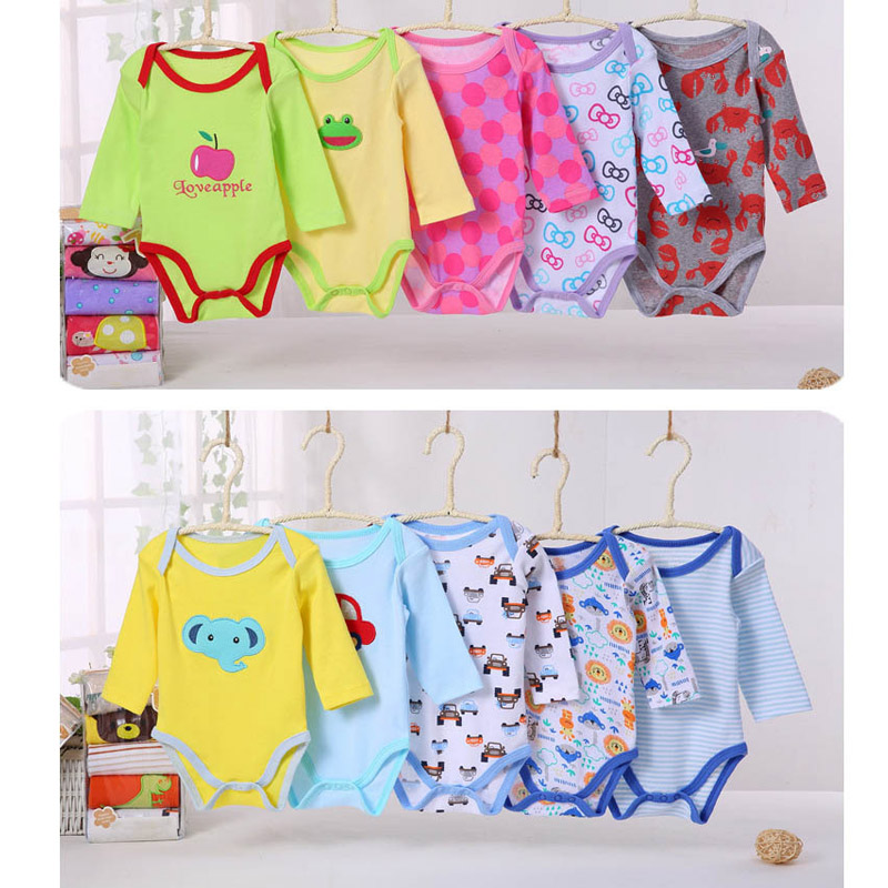 5Pcs Baby Rompers Spring Baby Boy Clothes Cotton Baby Girl Clothes Roupas Bebe Newborn Baby Clothes Infant Jumpsuits Kid Clothes