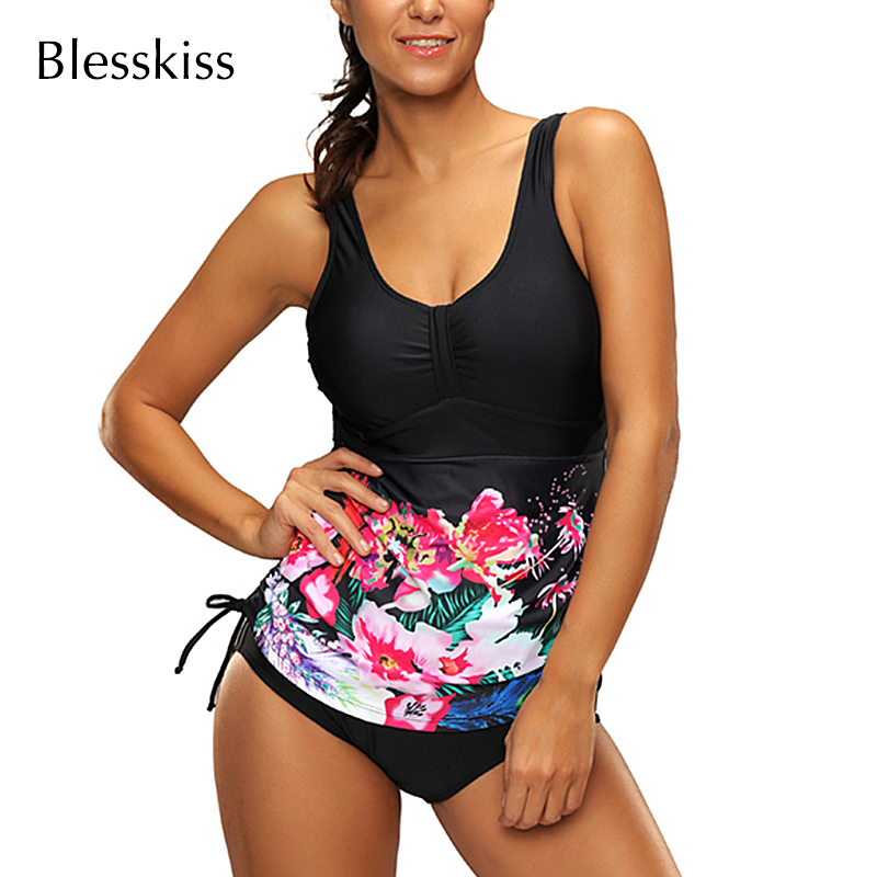 Blesskiss Plus Size 2 Piece Tankini Swimsuits Women 2019 Printed Floral Retro Swimwear Large Size Bathing Suit Swim Bikini Shirt