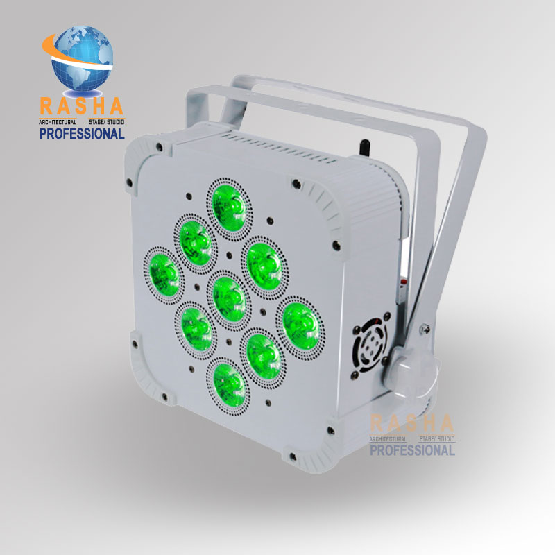 1X Rasha Penta 9pcs*15W 5in1 RGBAW Wireless DMX512 LED Flat Par Can,LED Profile Par Light,Disco Stage Light DJ Club Bar Light 8x lot freeshipping rgbaw 9pcs 15w flat par can light american dj led par can for event disco party