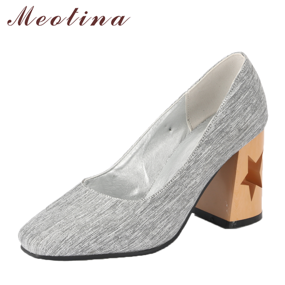 Meotina Women High Heels Square Toe Shoes Slip On Hollow Thick Heels Ladies Pumps Shallow 2018 Spring Shoes Grey Plus Size 33-46 gold chain party 2017 spring summer casual shallow slip on square toe bling square heels women pumps free ship mujer pantufa