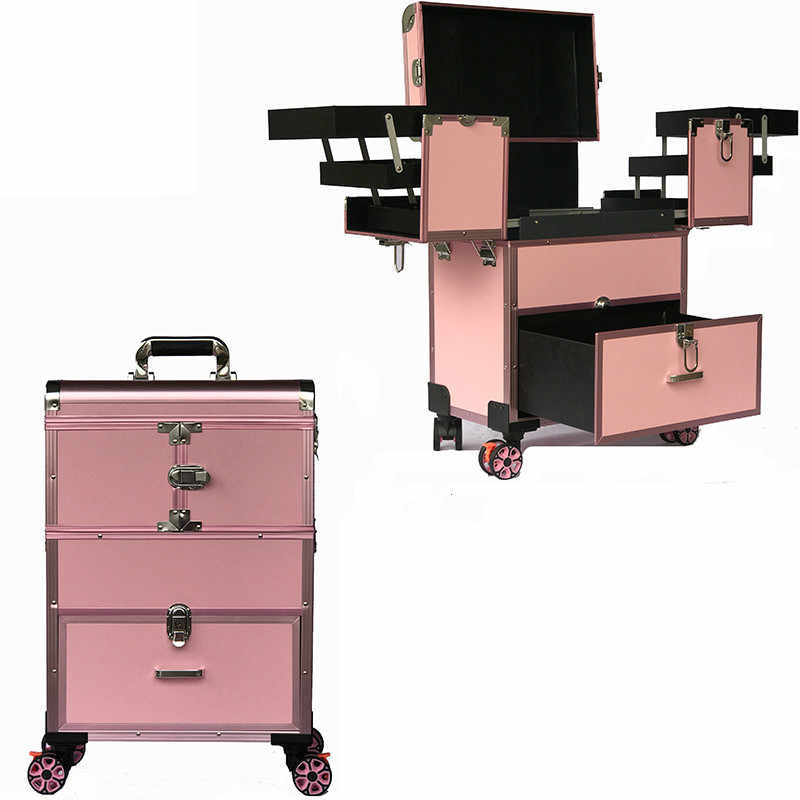 Multi-layer trolley makeup box professional large-capacity removable caster makeup nail Case