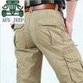 AFS JEEP Original Marca Pure Cotton Cargo Pant Para hombre más Tamaño Muchos Bolsillos Grueso de ocio de Larga Duración En General Sólida pantalones