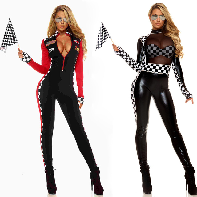 84658c486a Sexy Ladies Racing Girl Costume Race Car Driver Outfit Long Sleeves Plaid  Jumpsuit Dreamgirl Fancy Dress