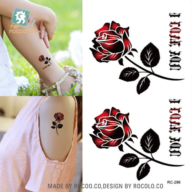 96056a23a 2pcs/lots Hot dark red rose small fresh men and women with waterproof tattoo  stickers RC2296