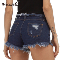 Distressed Denim Shorts Marca di Modo delle donne Dell'annata Della Nappa Strappato Sciolto Pantaloncini A Vita Alta Punk Sexy Brevi Jeans