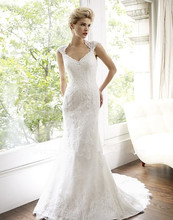 free shipping 2014 new design cap sleeve custom size/color mermaid white/ivory bridal gowns elie saab lace vintage wedding dress