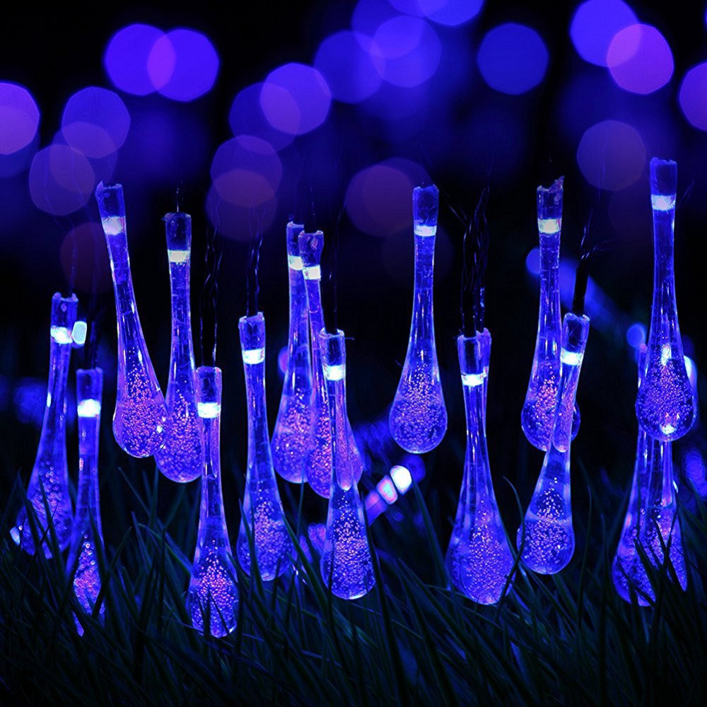 Jiaderui Solar Powered Outdoor Water Drop String Lights 4.5m 20 LEDs Garden Christmas Holiday Light Outdoor Fairy Garland Light