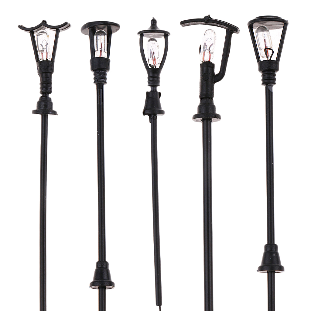 20 Pieces Model Railway Railroad Garden Model Outdoor Led Lamppost Lamps Yard Street Lights HO Scale for Building Layout line art
