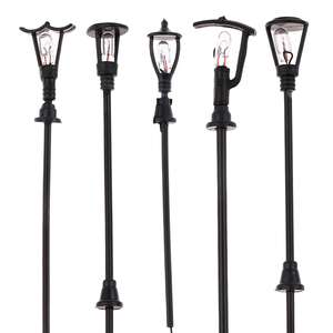 20 Pieces Model Railway Railroad Garden Model Outdoor Led Lamppost Lamps Yard Street Lights HO Scale for Building Layout
