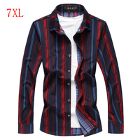 Loldeal Mens Red Striped Cotton Dress Shirts Fashion Casual Long Sleeve Blouse Loose Shirt For Men Big Size 5XL 6XL 7XL